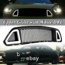 For 2015-2017 Ford Mustang ABS Black Front Upper Grille Hood With DRL LED Lights