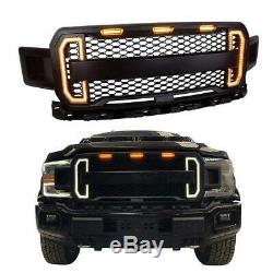 For 2018-2020 Ford F150 Raptor Style Matte Black Front Grille withLED DRL Light