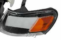For 93 97 Toyota Corolla DX Headlight Black DRL Light LED Corner Lamps Set