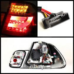 For 99-01 BMW E46 3-Series 4DR Tail Light Black LED STRIP Signal Brake Pair L+R