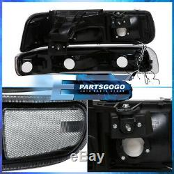 For 99-02 Silverado Tahoe LED DRL Black Housing Clear Lens Headlights Assembly
