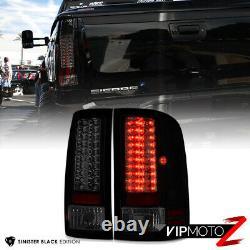 For GMC Sierra 07-13 SINISTER BLACK SMOKE Housing LED Tail Light Brake Lamp