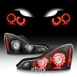 For Infiniti 08-13 G37 / 14-15 Q60 LED Tail Light Brake Signal Lamp Black Clear