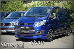 Ford Transit Custom Black Front Mesh Grille & Led Drl Lights Not Fog Chrome Lamp