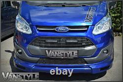 Ford Transit Custom Black Front Mesh Upper Lower Grille Led Drl Lights Not Fogs