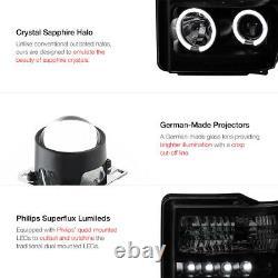 Halo DRL SINISTER BLACK Smoke Headlights LED Tail Lights Ford F250 F350 08 09 10