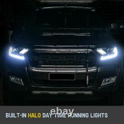 Headlights For Ford Ranger Everest 2015-ON Mustang style H11 Halo DRL HEAD LIGHT
