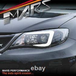 LED 3D Stripe DRL Projector Head Lights for Subaru Impreza 07-13 Halogen type