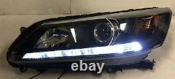 LED DRL Black Housing Amber Reflector Projector Headlight For 13 14 15 Accord
