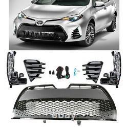 LED DRL Bumper Fog Light & Black Grille For 2017 2018 Toyota Corolla SE XSE