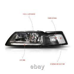 (LED DRL LIGHT BAR) Black/Clear Corner Headlight Lamps for 99-04 Ford Mustang