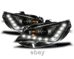 LED DRL black Headlights for Seat Ibiza 6J with daytime running lights