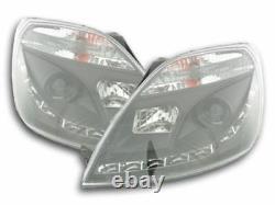 LED daytime running lights LED DRL headlight set black for Ford Fiesta MK6 01-05