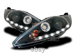 LED daytime running lights headlight set in black for Ford Fiesta MK7 JA8 08-12