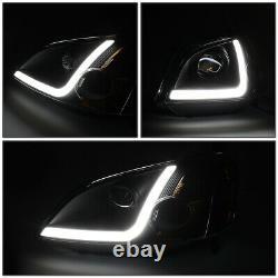 Led L-light Bar Drlfor 01-03 Honda CIVIC 2/4dr Black Amber Projector Headlight