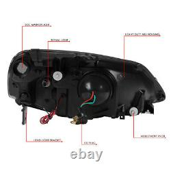 Led L-light Bar Drlfor 01-03 Honda CIVIC Chrome Clear Projector Headlights