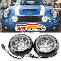 Mini Cooper Led Rally Driving Lights Halo Ring Angel Eyes DRL Black Shell Lamps