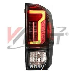 OE Style Fit 16-21 Toyota Tacoma DRL LED Brake Tube Tail Lights Black Clear