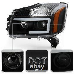 OLED TUBEBlack Headlight LED DRL Lamp Pair For 04-15 Nissan Titan/04-07 Armada