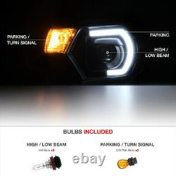 Optic Neon Tube DRL For 12-15 Toyota Tacoma Black Projector LED Headlight Lamp