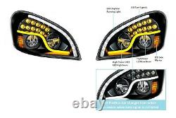 Pair LED Blackout Headlights With Dual LED DRL & Turn for Freightliner Cascadia