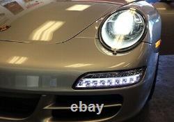 Porsche 997 911 04-08 Black Smoked LED Sidelight Fog Indicator Daytime Light DRL