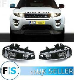 Range Rover Evoque Black Front Fog Lights Lamps Drl Pair Both Sides Led 12-16
