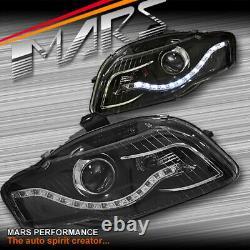 Real LED DRL Dual Beam Projector Head Lights for AUDI A4 B7 05-08 Sedan & Avant