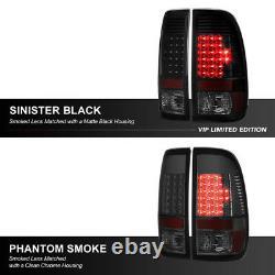 SINISTER BLACK SMOKE For 08-16 Ford F250 F350 LED Rear Brake Tail Light Assembly