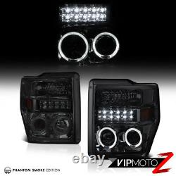 SMOKE 2008-2010 Ford F250 F350 LED DRL Halo Headlights Sinister Black Tail Light