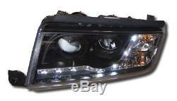 Skoda Fabia Mk1 Black Drl Led Devil Eye R8 Design Projector Front Headlights