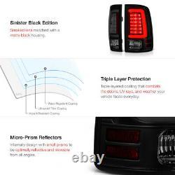 Smoke Lens09-18 Dodge Ram 1500 BLACK LED Bar Tail Lamp+License Plate Tag Light