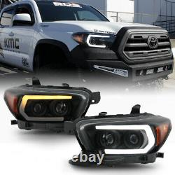 Smoke Switchback Sequential LED DRL Projector Headlight For 16-21 Toyota Tacoma