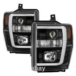 Spyder for 08-10 Ford F-250 Projector Headlights V2 Light Bar DRL LED Black