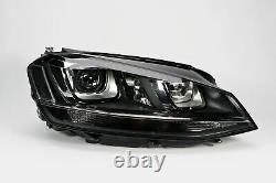 VW Golf MK7 12-16 Black Bi-Xenon LED DRL Headlight Right Driver O/S OEM Valeo