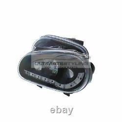 VW Golf Mk4 1997-2004 Black DRL Devil Eye R8 Head Light Lamp Pair Left & Right