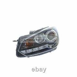 VW Golf Mk6 2009-2013 Black DRL Devil Eye R8 Head Light Lamp Pair Left & Right