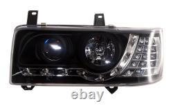 VW T4 CARAVELLE (90-94) Short Nose/TRANSPORTER (90-03) BLACK LED DRL HEADLIGHTS