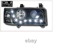 VW Transporter T4 Short-nose Black R8 DRL Headlights LED strip 1 Pair