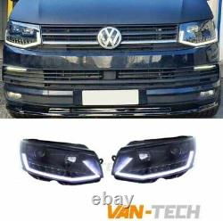 VW Transporter T6 LED DRL Light Bar Headlights Black