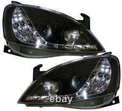 Vauxhall Corsa C 01-05 Black Drl Led R8 Design Projector Front Headlights