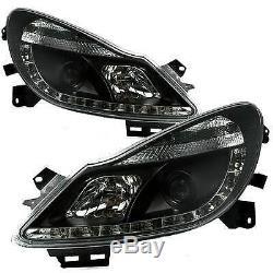 Vauxhall Corsa D 06 11 Black Drl Devil Eye R8 Head Lights Lamps New Pair
