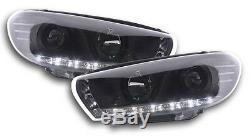 Volkswagen VW Scirocco 08-13 Black DRL Devil Angel Eyes Front Headlights Lights