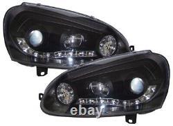Vw Golf Mk5 Black Drl Led Devil Eye R8 Design Projector Front Headlights
