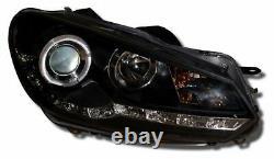 Vw Golf Mk6 Black Drl Led Devil Eye R8 Design Projector Front Headlights