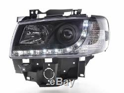 Vw T4 Transporter 90-03 Long Nose Black Drl Devil Eye R8 Head Lights Lamps New