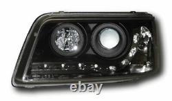Vw T5 -2010 Black Drl Led Devil Eye R8 Design Projector Front Headlights
