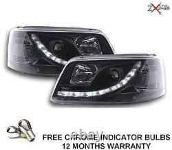 Vw T5 Transporter Black R8 Led Drl Daylight Running Lights Devil Eye Headlights