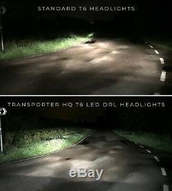 Vw T6 Transporter BLACK V1 LED DRL Headlights, T6 Headlamps, T6 Lights, T6 LED