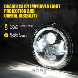 Xprite 7 90W CREE LED Headlights with RGB Dancing Halo for Jeep Wrangler JK TJ LJ